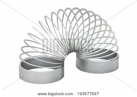 metallic spring 3D rendering isolated on white background