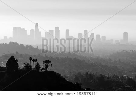 Downtown Los Angeles with smog and fog in black and white.