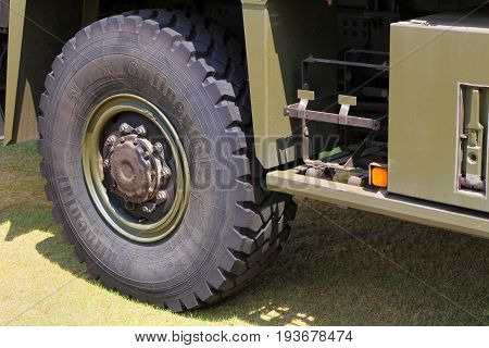 Sandhurst, Surrey, Uk - June 18Th 2017: Close Up Of Continental Tyre Fitted To British Army Man Truc