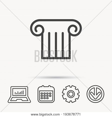 Antique column icon. Ancient museum sign. Architectural pillar symbol. Notebook, Calendar and Cogwheel signs. Download arrow web icon. Vector