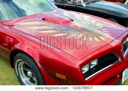 Sandhurst, Surrey, Uk - June 18Th 2017: Bonnet Of A Pontiac Firebird Trans Am Ta  6.6 At An Auto Or