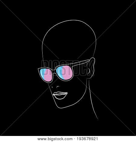 Stylized face with glasses using original colors for transsexual. Unconventional sexual orientation for LGBT gay and lesbian parade. Vector t-shirt print design