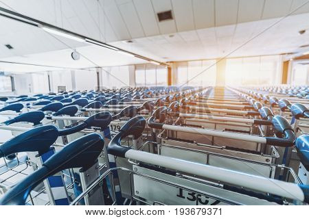 Multiple numbered luggage carts with blue handles standing in several rows in hall of contemporary airport with window and sun flare in defocused background