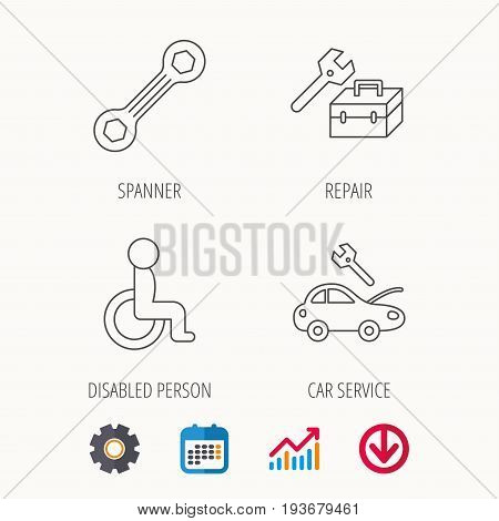 Repair toolbox, spanner tool and car service icons. Disabled person linear sign. Calendar, Graph chart and Cogwheel signs. Download colored web icon. Vector