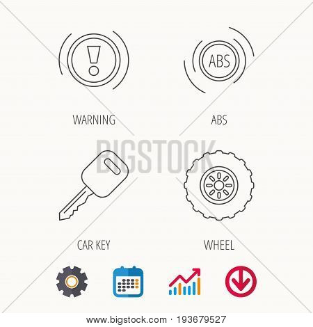 Car key, abs and wheel icons. Warning ABS, attention linear signs. Calendar, Graph chart and Cogwheel signs. Download colored web icon. Vector