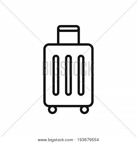 Baggage luggage line icon outline vector sign linear style pictogram isolated on white. Symbol logo illustration. Editable stroke. Pixel perfect graphics