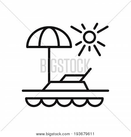 Vacation line icon outline vector sign linear style pictogram isolated on white. Beach paradise symbol logo illustration. Editable stroke. Pixel perfect graphics