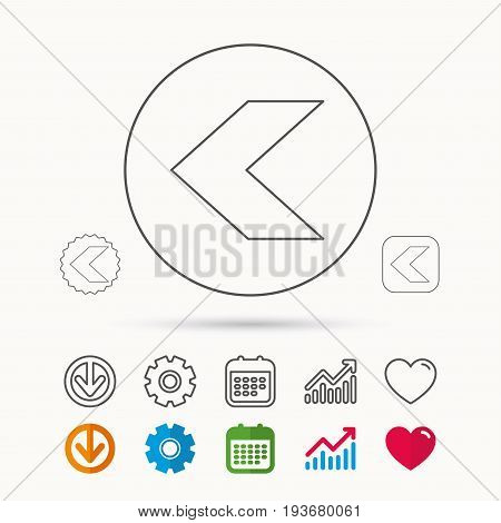 Back arrow icon. Previous sign. Left direction symbol. Calendar, Graph chart and Cogwheel signs. Download and Heart love linear web icons. Vector