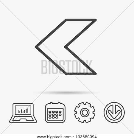 Back arrow icon. Previous sign. Left direction symbol. Notebook, Calendar and Cogwheel signs. Download arrow web icon. Vector