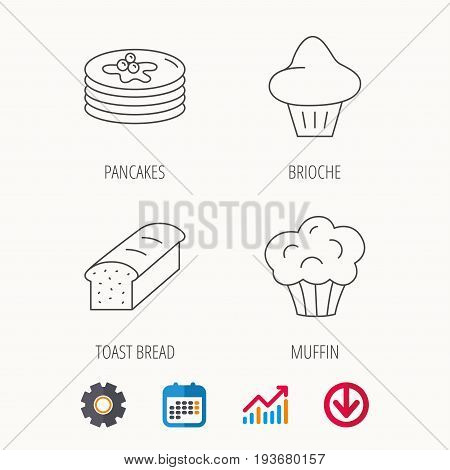 Pancakes, brioche muffin and toast bread icons. Cupcake linear sign. Calendar, Graph chart and Cogwheel signs. Download colored web icon. Vector