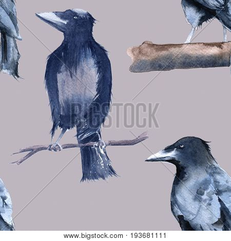 Black Raven Background. Seamless pattern. Watercolor illustration