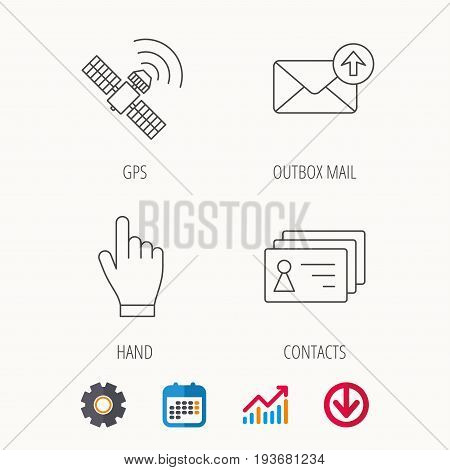 Hand pointer, contacts and gps satellite icons. Outbox mail linear sign. Calendar, Graph chart and Cogwheel signs. Download colored web icon. Vector