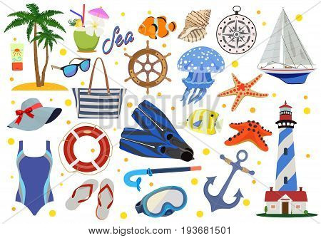 Vector color collection of signs and symbols of sea or oceanic rest on a white background. Seaside vacation and paraphernalia.