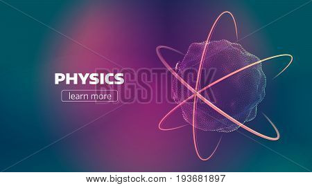 Abstract nuclear illustration. Atom discover banner background