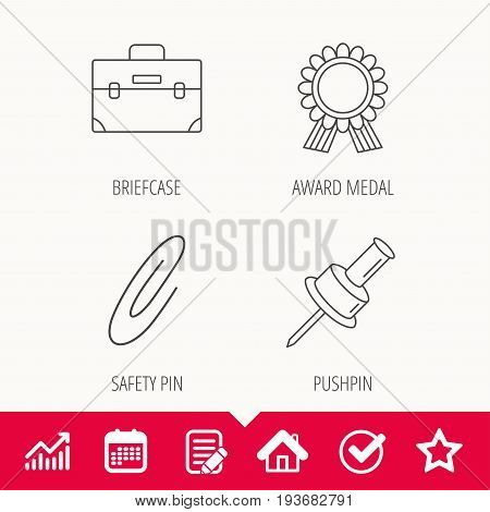 Award medal, pushpin and briefcase icons. Safety pin linear sign. Edit document, Calendar and Graph chart signs. Star, Check and House web icons. Vector