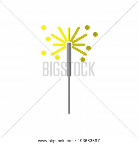 Sparkler firework flat icon filled vector sign colorful pictogram isolated on white. Symbol logo illustration. Flat style design