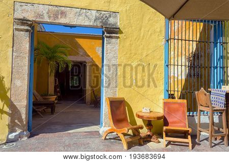 Colonial entrance in house in Campeche Mexico