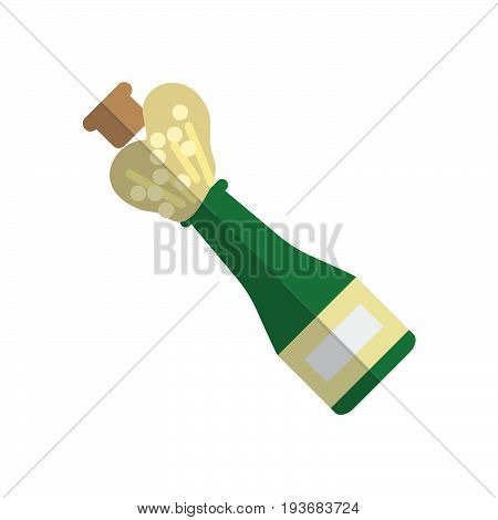 Champagne pop flat icon filled vector sign colorful pictogram isolated on white. Celebration symbol logo illustration. Flat style design