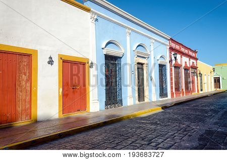 Tipycal colonial street and houses in Campeche Mexico