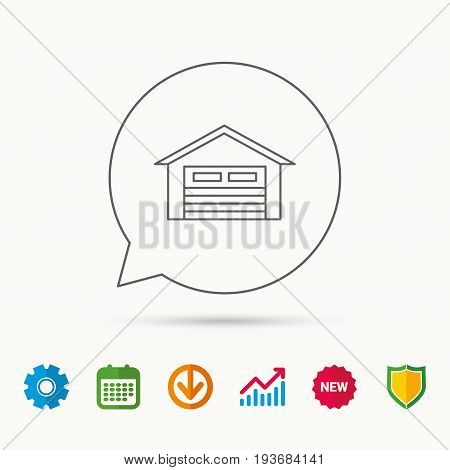 Auto garage icon. Transport parking sign. Calendar, Graph chart and Cogwheel signs. Download and Shield web icons. Vector