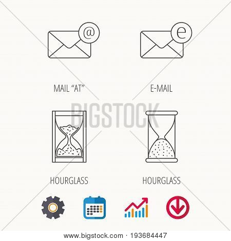 Mail, e-mail and hourglass icons. E-mail inbox linear sign. Calendar, Graph chart and Cogwheel signs. Download colored web icon. Vector