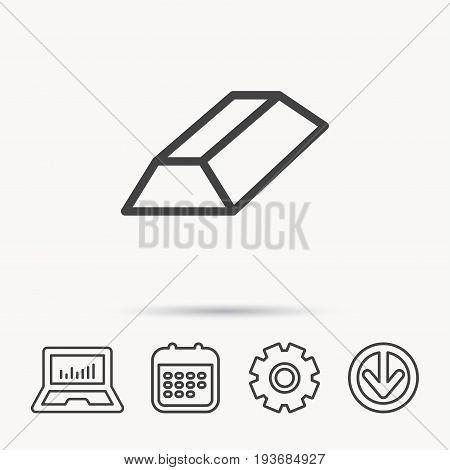 Gold bar icon. Banking treasure sign. Notebook, Calendar and Cogwheel signs. Download arrow web icon. Vector