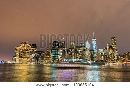 Lower Manhattan at night viewed from Brooklyn - New York City