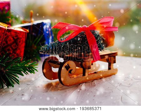 Merry Christmas tree transporter bringing gifts to all the sweethearts on x mas evening, Christmas, decor, sleigh with Christmas tree,