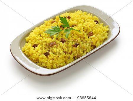 turmeric rice isolated on white background