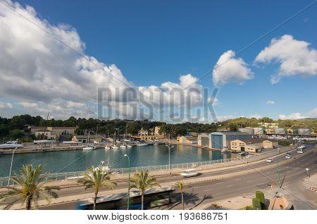 Palma de Mallorca Porto Pi view in Balearic islands, Spain, time lapse.