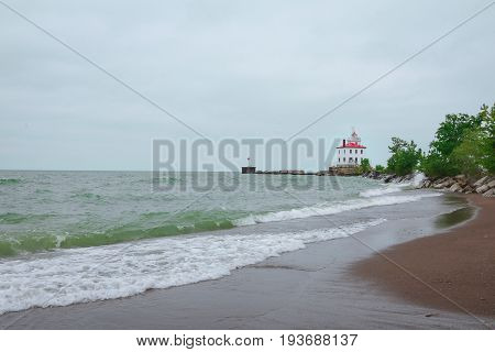 Light House on the shore of Lake Erie