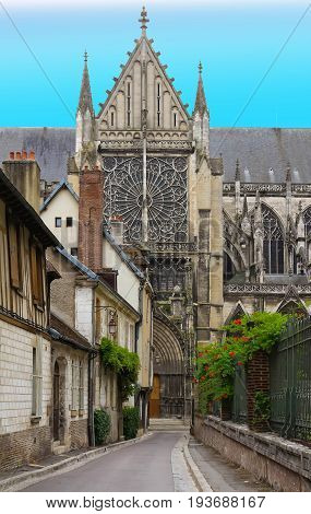 Facade of the Saint-Pierre-et-Saint-Paul Cathedral in Troyes, France