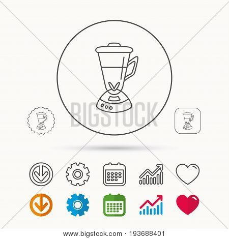 Mixer icon. Blender sign. Kitchen electric tool symbol. Calendar, Graph chart and Cogwheel signs. Download and Heart love linear web icons. Vector