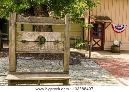 An old Pillory on display at Smithville New Jersey