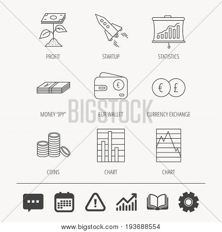 Profit investment, cash money and startup rocket icons. Wallet, currency exchange and euro linear signs. Chart, coins and statistics icons. Education book, Graph chart and Chat signs. Vector