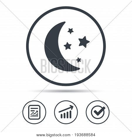 Moon and stars icon. Night sleep symbol. Report document, Graph chart and Check signs. Circle web buttons. Vector