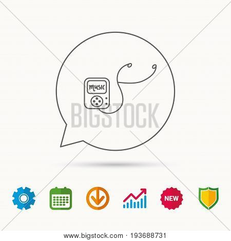 Music player icon. Songs portable device sign. Multimedia sound technology symbol. Calendar, Graph chart and Cogwheel signs. Download and Shield web icons. Vector