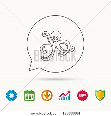 Octopus icon. Ocean devilfish sign. Calendar, Graph chart and Cogwheel signs. Download and Shield web icons. Vector