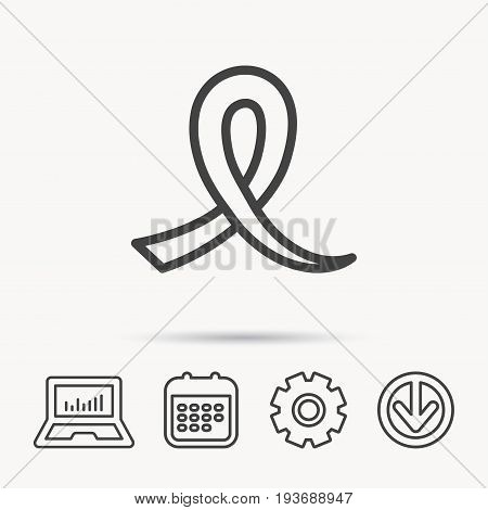 Awareness ribbon icon. Oncology sign. Notebook, Calendar and Cogwheel signs. Download arrow web icon. Vector