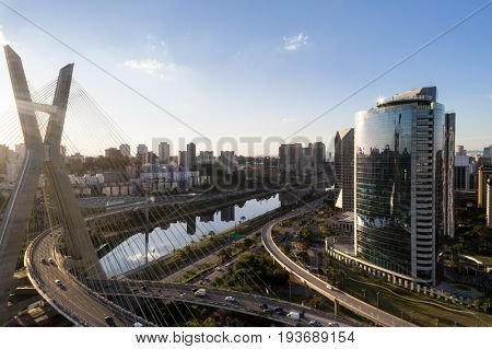 Aerial view of Estaiada bridge and skyscrapers in Marginal Pinheiros, Sao Paulo, Brazil