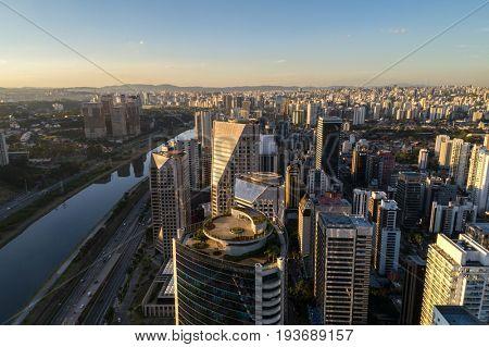 Aerial view of Marginal Pinheiros, Sao Paulo, Brazil