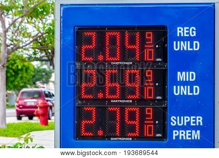 Summer gas prices in South Florida on July 3 2017 displayed on a street side led sign