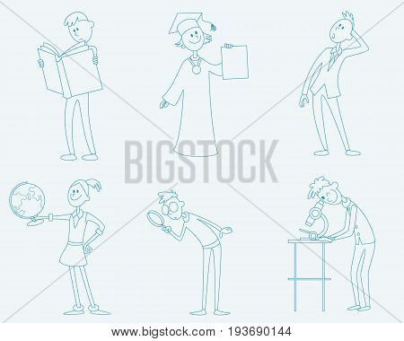 Vector illustration of a six schoolchild set