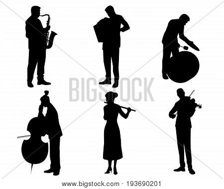 Vector illustration of a six musicians silhouettes