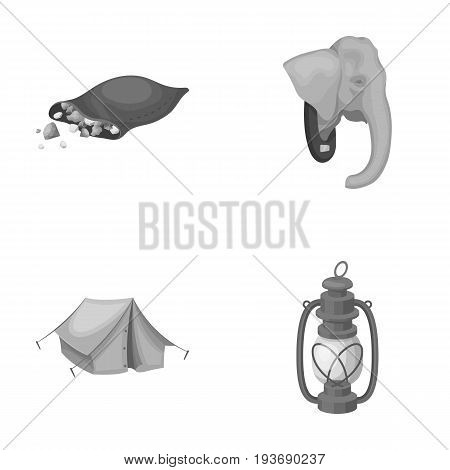 A bag of diamonds, an elephant's head, a kerosene lamp, a tent. African safari set collection icons in monochrome style vector symbol stock illustration .