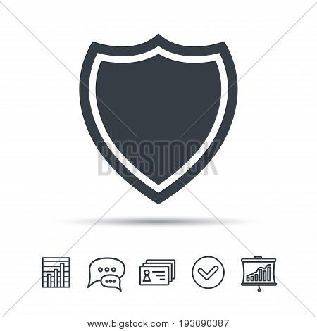 Shield protection icon. Defense equipment symbol. Chat speech bubble, chart and presentation signs. Contacts and tick web icons. Vector