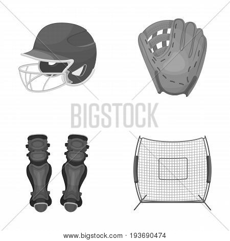 Helmet protective, knee pads and other accessories. Baseball set collection icons in monochrome style vector symbol stock illustration .