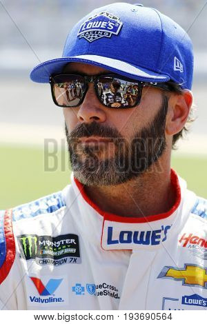 June 30, 2017 - Daytona Beach, FL, USA: Jimmie Johnson (48) hangs out on pit road during qualifying for the Coke Zero 400 at Daytona International Speedway in Daytona Beach, FL.