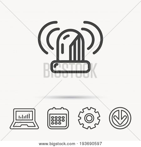 Siren alarm icon. Alert flashing light sign. Notebook, Calendar and Cogwheel signs. Download arrow web icon. Vector