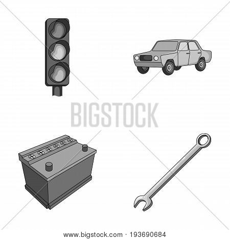 Traffic light, old car, battery, wrench, Car set collection icons in monochrome style vector symbol stock illustration .